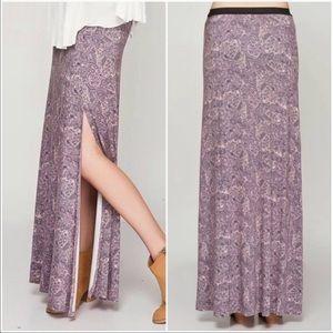 Free People Lilac Paisley Maxi Skirt